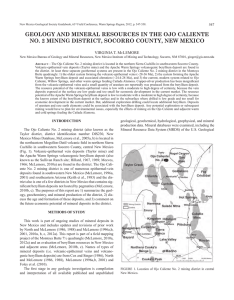 geology and mineral resources in the ojo caliente no. 2 mining