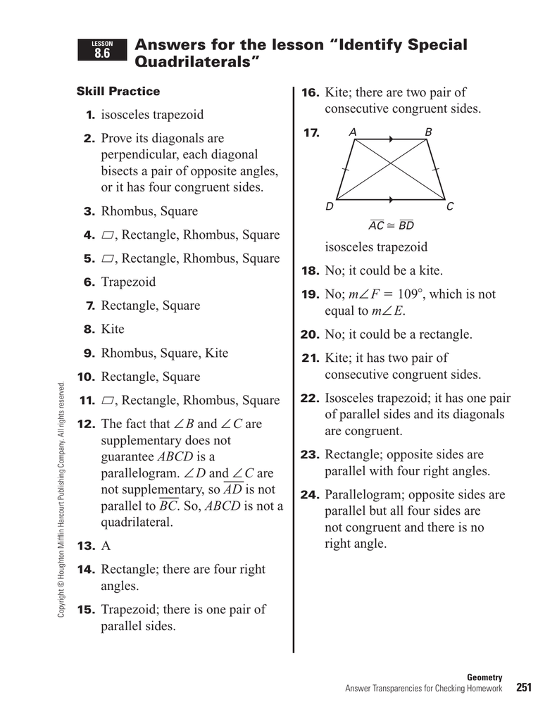 "Answers for the lesson ""Identify Special Quadrilaterals"""