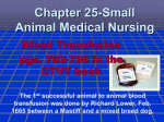 Chapter 25-Small Animal Medical Nursing Blood Transfusion pgs