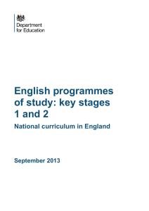 English programmes of study: key stages 1 and 2