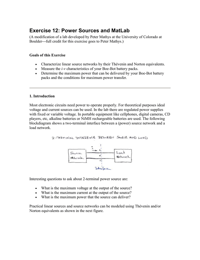 Exercise 14 Power Sources And Matlab Variable Voltage Current Supply