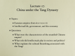 Lecture 17: China under the Tang Dynasty