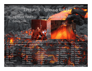 Lecture 5: Igneous Rocks