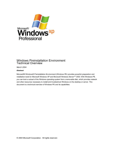 Windows PE Overview - Microsoft Center