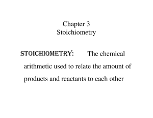 Chapter 3 Stoichiometry STOICHIOMETRY: The chemical arithmetic