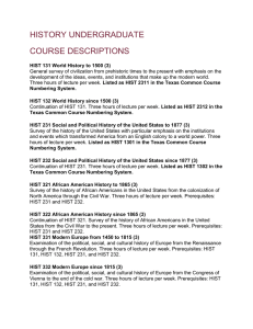 HISTORY UNDERGRADUATE COURSE DESCRIPTIONS
