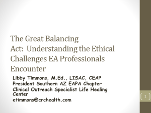 The Great Balancing Act Ethics in the EA Professional Oct 2014