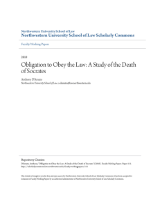 Obligation to Obey the Law: A Study of the Death of Socrates