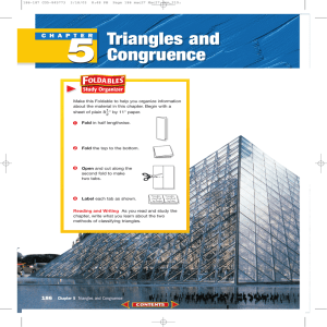 Chapter 5: Triangles and Congruence