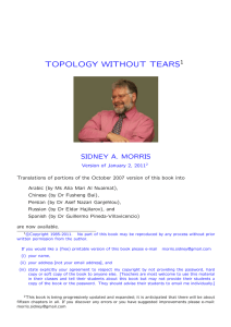 """Topology Without Tears"" by Sidney A. Morris"