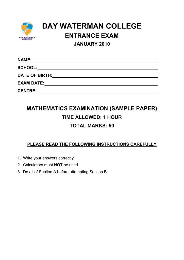 day waterman college entrance exam january 2010