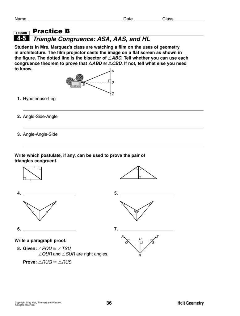 lesson 4-5 problem solving triangle congruence asa aas and hl