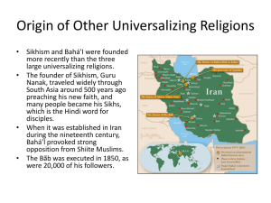 Origin of Other Universalizing Religions