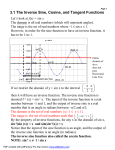 3.1 The Inverse Sine, Cosine, and Tangent Functions