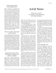AAAI News - Association for the Advancement of Artificial Intelligence