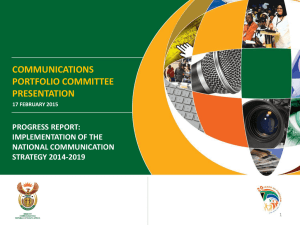 Implementation of the National Communication Strategy 2014