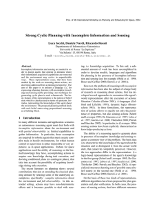Strong Cyclic Planning with Incomplete Information and Sensing