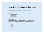 Input and Output devices - Instrumentation/ElecEng