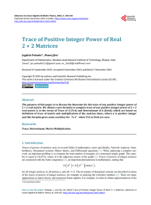 Trace of Positive Integer Power of Real 2 × 2 Matrices