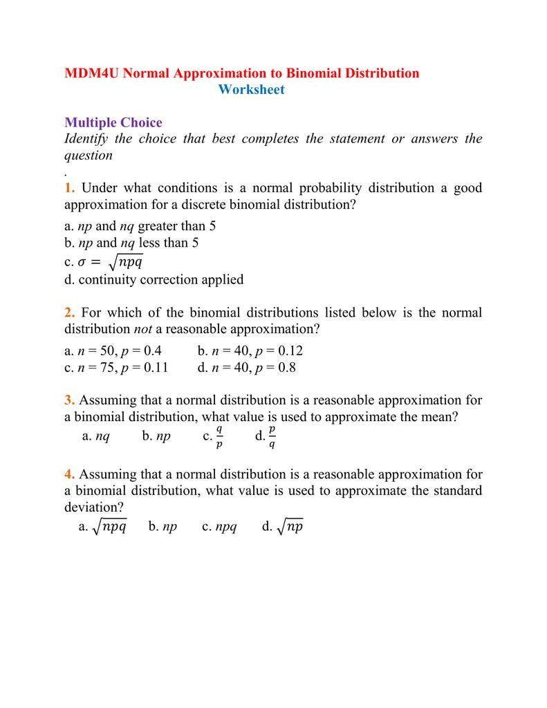 MDM4U Normal Approximation to BD Worksheet