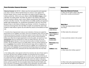 Text-Pericles Funeral Oration Vocabulary Questions Historical