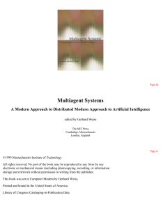 Multiagent Systems : A Modern Approach to Distributed Artificial
