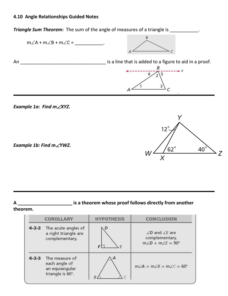 410 angle relationships guided notes triangle sum theorem ccuart Choice Image