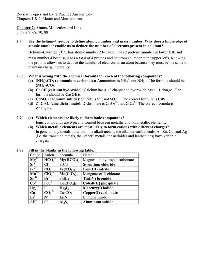 HW 2-1 Review Chap 2 Key