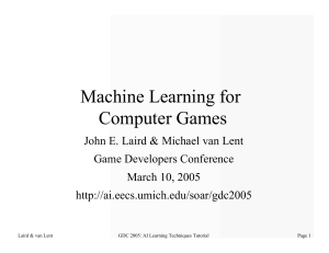 Machine Learning for Computer Games