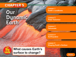 What causes Earth`s surface to change?