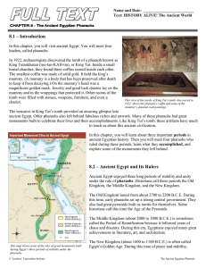 8.1 – Introduction 8.2 – Ancient Egypt and Its Rulers