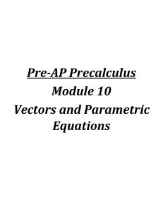 Selected Solutions Pre-AP Precalculus Module 10