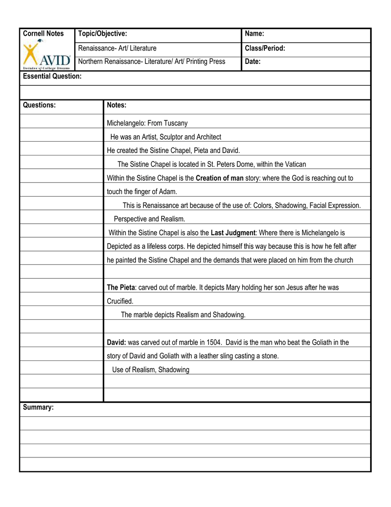 Cornell Notes Topic/Objective: Name: Renaissance