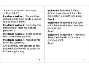 Read 1.4, 2.6 Incidence Axiom 1. For each two distinct points there