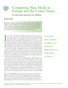 Comparing Mass Media in Europe and the United States