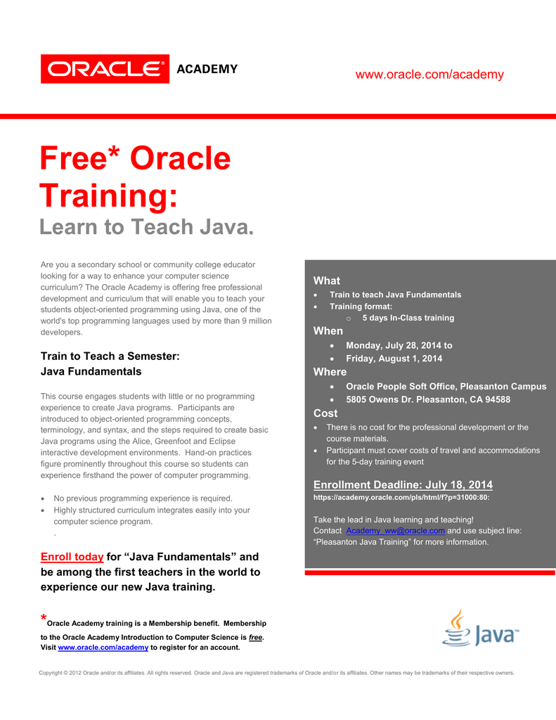 Free* Oracle Training: Learn to Teach Java, a Top Programming