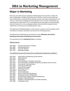 BBA in Marketing Management Major in Marketing