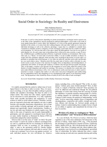 Social Order in Sociology: Its Reality and Elusiveness