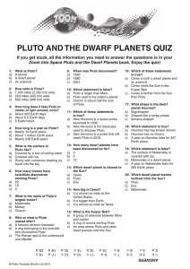 pluto and the dwarf planets quiz