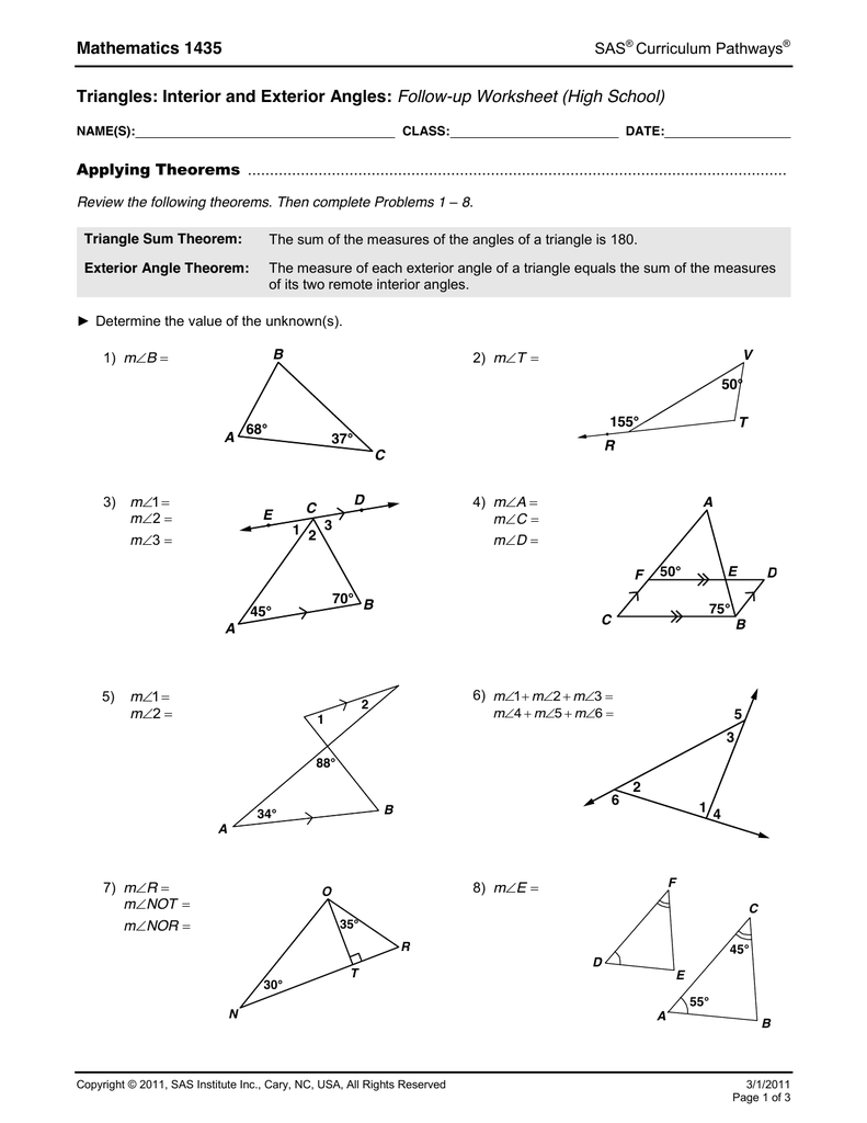 Mathematics 1435 Triangles Interior And Exterior Angles Follow