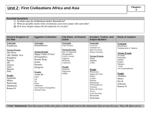 Unit 2 : First Civilizations Africa and Asia