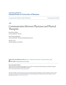 Communication Between Physicians and Physical Therapists