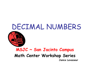 10 decimals - Mark`s Academy of Science