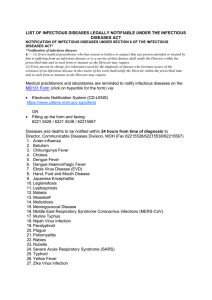 List of Infectious Diseases legally notifiable under the Infectious