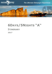 "6Days/5Nights ""A"" Itinerary 2016 6 Days / 5 Nights ""A"" Ocean Spray"