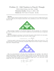 Problem 12 : Odd Numbers in Pascal`s Triangle
