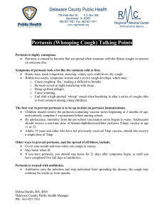 Pertussis (Whooping Cough) Talking Points