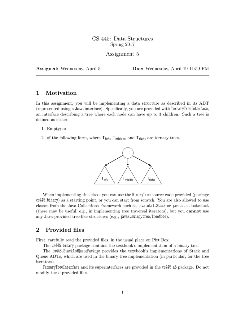 CS 445: Data Structures Assignment 5 1 Motivation 2 Provided