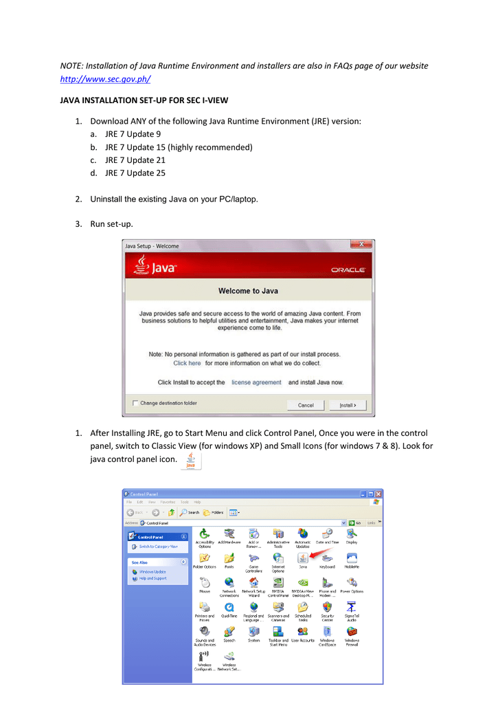 NOTE: Installation of Java Runtime Environment and installers are