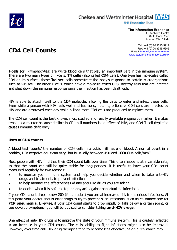 Uses of CD4 counts - Chelsea and Westminster Hospital